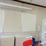 Bulletin boards and staple-ready wall at the back of the room. These will be a home for student work.